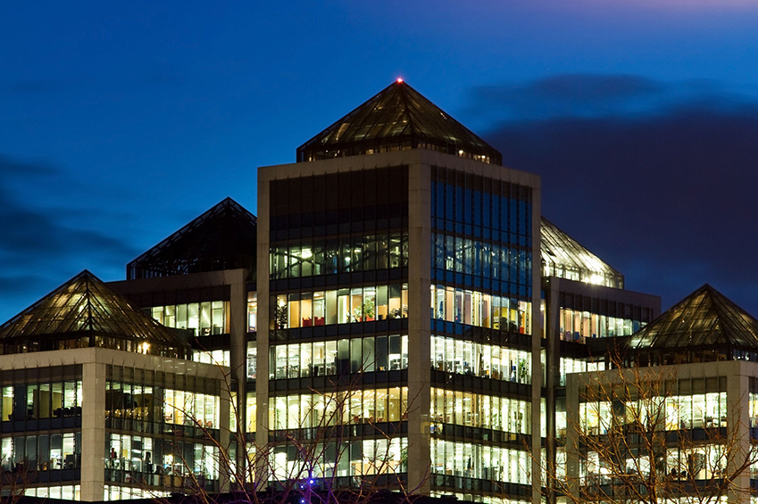 Dublin Financial District at Night