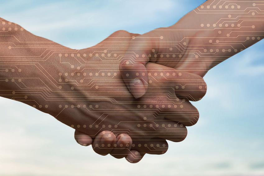 Handshake with circuit board overlay