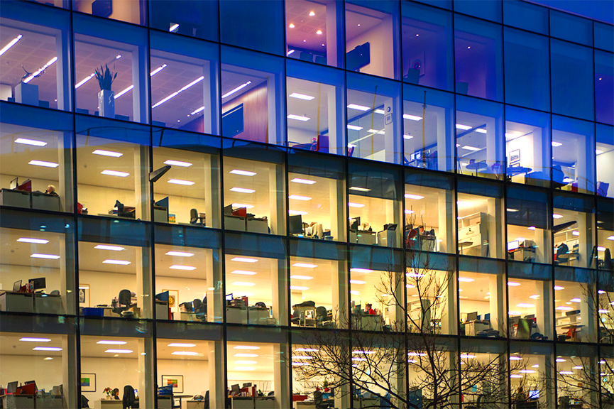 office windows in the evening