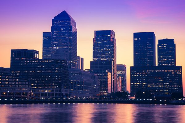 Buildings at Canary Wharf London at dusk