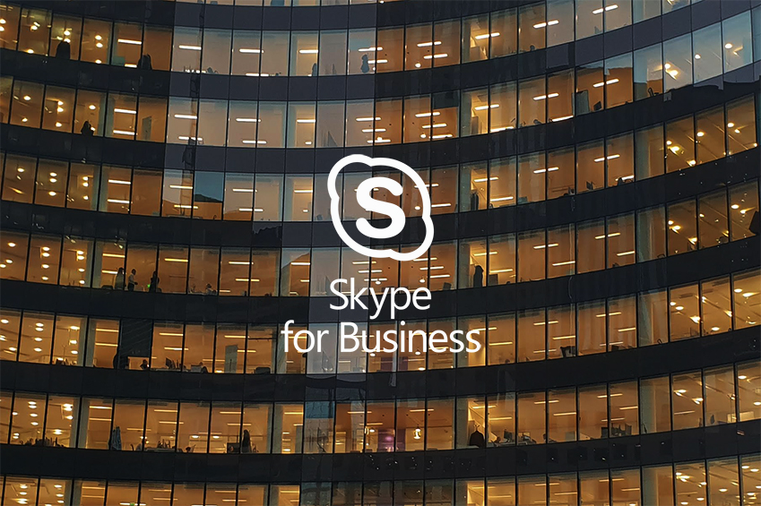 office building with skype for business logo