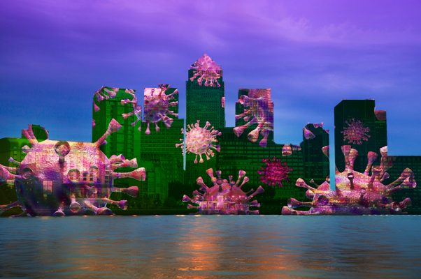coronavirus superimposed on Canary Wharf, London