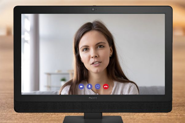 wom talking on video conferencing app